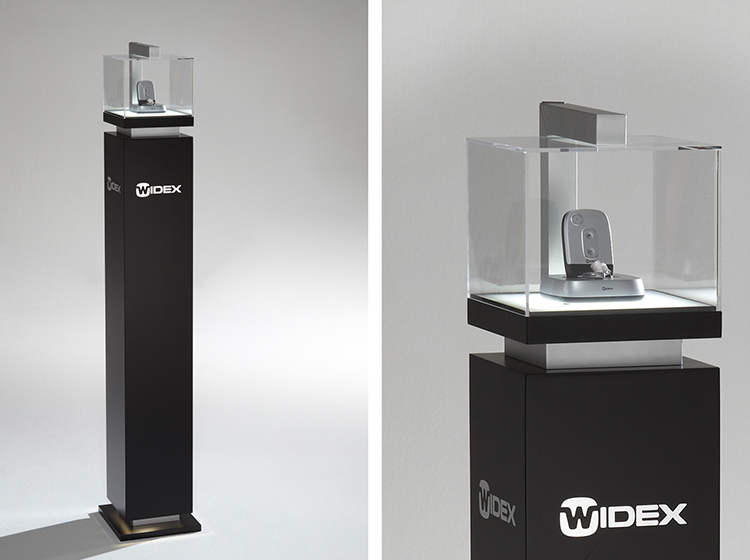 Widex vitrine en verre