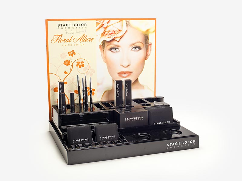 Plastic display for cosmetics